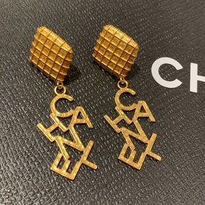 Vintage Chanel 97P Logo Clip Earrings